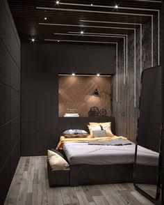 Не знаете как стильно и со вкусом оформить спальню в темных тонах? Дизайн в современном стиле с элементами лофта, смотрите больше фото дизайн проекта по ссылке на нашем сайте Black Bedroom Design, Small Bedroom Interior, Bedroom False Ceiling Design, Luxury Bedroom Design, Bedroom Bed Design, Small Bedroom Designs, Modern Ceiling Design, Interior Design Your Home, Bedroom Furniture Design