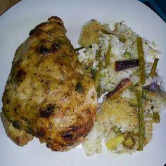 Roasted chicken breast and veggie rice #MrsKimchi #BillieCooks #homemade