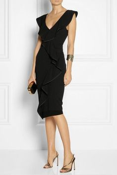 Black stretch-jersey Grosgrain-trimmed ruffles, front slit Concealed hook and zip fastening at back
