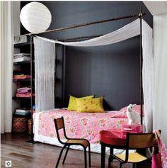 Décoration chambre fille mur peinture gris anthracite 27fcd7b1db95