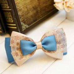 $2.37 Refreshing Chiffon Tiny Floral Print Design Women's Multi-Layered Bowknot Hairpin
