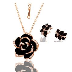 A Suit of Sweet Women's Rhinestone Blossom Necklace And Earrings