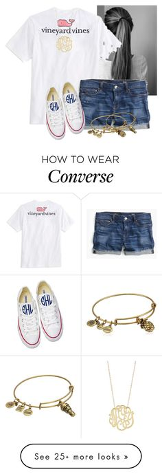 """Today we have a no uniform day and this is my exact OOTD"" by flroasburn on Polyvore featuring Vineyard Vines, J.Crew, Converse, Alex and Ani and Ginette NY"
