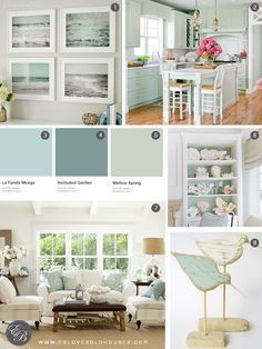 Elizabeth Burns Design Beach House Inspiration seafoam green aqua and white House Styles, Beach House Interior, Cottage Style, New Homes, Coastal Living Rooms, House, Beach Cottage Decor, Home Decor, House Interior