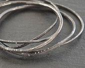 Sterling silver bangle set. Oval bracelets. Hammered. Modern. Hand forged.