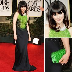 Zooey's Golden Globes dress (not to mention her cute little tuxedo nails)