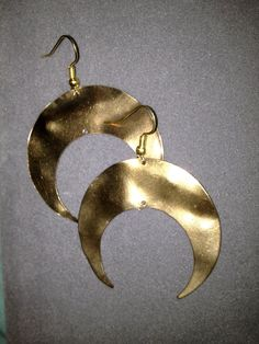 Golden Crescent Moon Earrings by LitteredNation on Etsy, $15.00