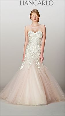 Liancarlo blusing pink wedding dress.  Photo: Courtesy of the Manufacturer / The Knot