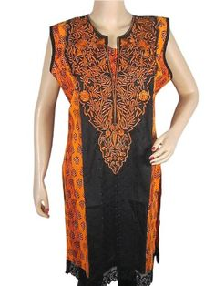Indiatrendzs Orange Kurta Tunic Floral Embroidered Womens Top Tunic Dress Medium Size Accelerate your trendy look clad in this Orange black cotton  kurti.. Resham embroidered decorative floral motifs beautify the center panel.. Made from cotton and hemline decorated with crochet lace.. Size: length-37,Chest-44, Shoulder-16.. Care Instruction : Hand Wash and Drip Dry..  #Mogul_Interior #Apparel
