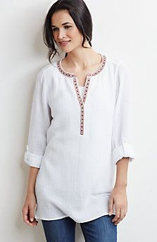 embroidered double-cloth top