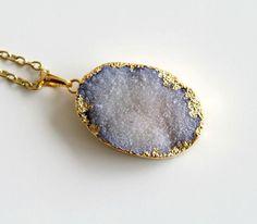 SALE 15 Lavender Blue Druzy Necklace Violet Blue by GSGjewelry, $55.00