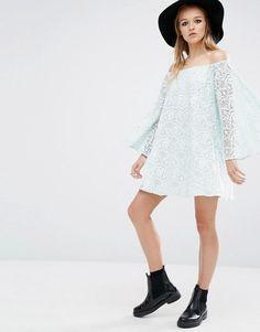 Reclaimed Vintage | Reclaimed Vintage Off Shoulder Dress In Lace at ASOS