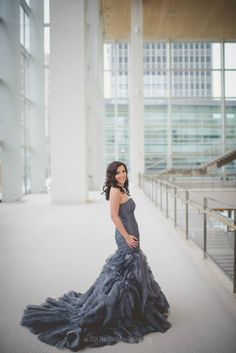 gorgeous charcoal wedding dress