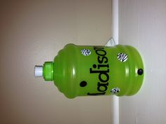 Water bottle ~$8 (available in lime green, pink and blue)