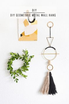 DIY Geometric Metal Wall Hang by Ashley Rose of Sugar & Cloth, a top lifestyle blog in Houston, Texas #wallhanging #diy #geometric