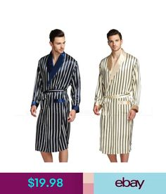 9d1bb4aaa7 Sleepwear  amp  Robes Mens Silk Satin Robe Robes Bathrobe Nightgown Pajamas  Pyjamas Pjs S3Xl