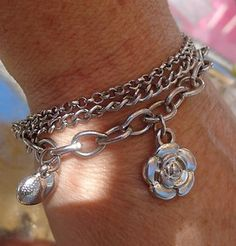 SOLD VINTAGE Silver SP Three Chain Link Puffy Heart Flower Sun Charm Bracelet Jewelry
