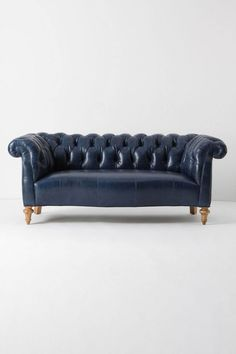 milo sofa - anthro - do not have five grand to plunk down for a sofa (nor would I, ever spend that much on a couch) but I just love the idea of a navy leather couch oh-so-much I had to pin it!