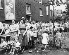 Lining up for the polio vaccine.  My mother paid our doctor $100 to get ours in his office - no waiting.