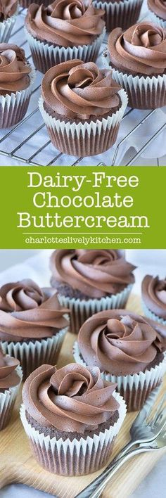 dairy-free (and vegan) chocolate buttercream is so deliciously rich you'd never guess it doesn't contain any dairy. Perfect for topping my dairy-free chocolate cupcakes. Dairy Free Cupcakes, Dairy Free Frosting, Vegan Frosting, Frosting Recipes, Dessert Recipes, Recipe For Vegan Cupcakes, Gluton Free Cupcakes, Dairy Free Chocolate Icing Recipe, Chocolate Recipes