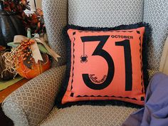 Halloween home decor pillow heat transfer cut design from SnapDragon Snippets and the Silhouette America online store.