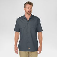 Dickies Men's Big & Tall Original Fit Short Sleeve Twill Work Shirt- Charcoal (Grey) 6XL
