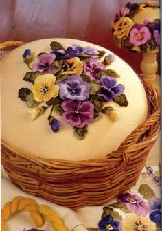 Absolutely gorgeous embroidery work from Helan Pearce... Sewing basket? Love these violets!