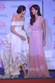 Two of the most beautiful woman!  Katrina Kaif and Sonam Kapoor seen together at an event organised by L'Oreal