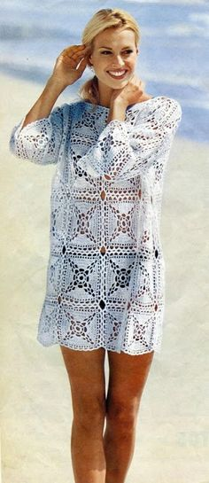 Crochet beach cover up pattern, Sexy beach dress pattern Crochet Beach Dress, Bikinis Crochet, Crochet Summer Tops, Crochet Tunic Pattern, Crochet Cardigan, Crochet Patterns, Moda Crochet, Crochet Top, Beach Coverup Pattern