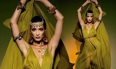 Bella Hadid is every inch the Grecian goddess in a plunging olive maxi dress   Daily Mail Online Bella Gigi Hadid, Grecian Goddess, White Gowns, Mail Online, Daily Mail, Wonder Woman, Model, Dresses