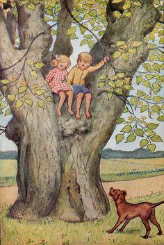 Settin in a tree/ Elsa Beskow Elsa Beskow, Anime Comics, Art Folder, Children's Book Illustration, Book Illustrations, Vintage Pictures, Vintage Children, Fairy Tales, Art Gallery