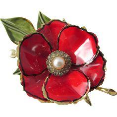 Vendome Red Enamel, Faux Pearl & Rhinestone Poppy Flower Brooch