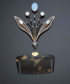 """cgmfindings:  """" Dragonfly Wing Hair Ornament  Tortoiseshell Gold Platinum Diamonds and Opals  c. 1900  """""""