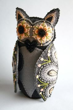 Mexican Folk Art.  Inspired by the brightly painted clay owls made in Southern Mexico, they are hand crafted out of felt from the artist's original pattern & detailed with   embroidery floss, scraps of felt, sequins  vintage glass beads from her abuelita's bead box. Owls are completely blanket-stitched for longevity. Bottom-weighted.