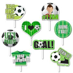 10 Image pack with soccer photo props. Each image is about 5 in to 6 in tall. *May ship with plastic or wooden stick. Soccer Birthday Parties, Football Birthday, Man Birthday, Party Props, Party Themes, Barcelona Soccer Party, Soccer Birthday Cakes, Soccer Banquet, Soccer Baby
