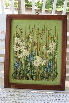 Crewel Embroidery Wall Hanging in Wood Frame by SouthernREbelle