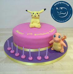 Pikachu and Charmander pokemon cak, made by The Foxy Cake Company!
