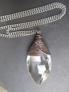 Crystal Necklace Wire Wrap Necklace Fall by daniellerosebean, $28.00