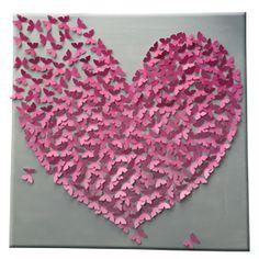 3D butterfly art. 3D vlindercanvas. Vlinderdoek Uniek persoonlijk cadeau #huwelijkscadeau #trouwcadeau #muurdecoratie #familiecadeau #babykamer decoratie. Canvas op afbeelding is 80 x 80 cm. Kleur / kleurovergang is zelf aan te vragen. Binnen 3 weken leverbaar. Te personalizeren door bv 4 gouden vlinders toe te voegen die gezinsleden representeren, namen in vlinders te zetten, een tekst aan de zijkant. Op maat gemaakt dus prijs per canvas aan te vragen. Meer info op site www.kantenclaar.com