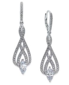Eliot Danori Silver Tone Marquise Crystal And Pavé Drop Earrings Macys