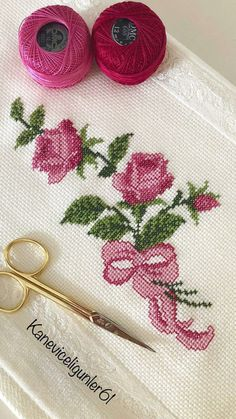 - Her Crochet Cross Stitch Heart, Cross Stitch Borders, Modern Cross Stitch Patterns, Cross Stitch Flowers, Cross Stitch Designs, Cross Stitching, Hand Embroidery Flowers, Flower Embroidery Designs, Ribbon Embroidery