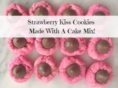 Here is a fun recipe you can make for Valentines Day! Kiss cookies aren't just for Christmas. You can make these Strawberry Kiss Cookies with a cake mix!