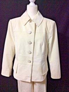 ESCADA Suit Crop Pants Broadwale Corduroy Elegant Cream Ivory Size 44 (US 14) #ESCADA #PantSuit