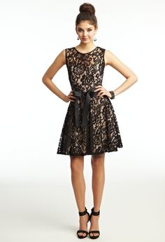 Short Two-Tone Lace Dress with Ribbon Belt from Camille La 4f2b6ce7d