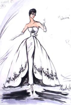 "Audrey Hepburn wore an iconic dress for the classic movie ""Sabrina"" by Hubert de Givenchy, though the credit for costume design was given to Edith Head for the. Hollywood Fashion, Hollywood Costume, Hollywood Actresses, Classic Hollywood, Moda Fashion, Fashion Art, Trendy Fashion, Fashion Design, Fashion Ideas"