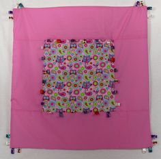 Pink Owl Taggie play mat perfect for tummy time. by SewSweetByMeg