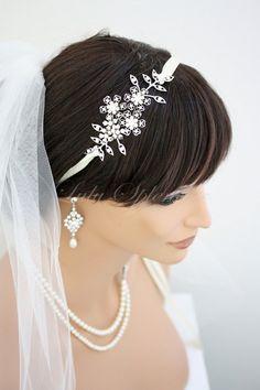 Bridal Headband Vintage Flowers and Leaves Ribbon Headband Swarovski Crystal Wedding Hair Accessories ARIA