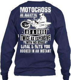 Motocross Braaap T Shirt Design Navy Long Sleeve T-Shirt Back