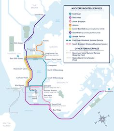 New York City now has ferries as another public transportation option [847 x 974] : MapPorn