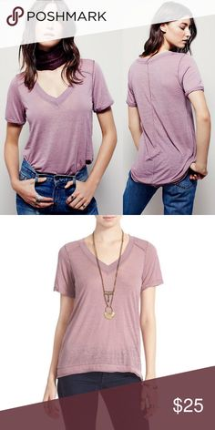 579a65f3ae59d Free People Pearls Raw Edge V-Neck Tee We the Free for Free People tissue